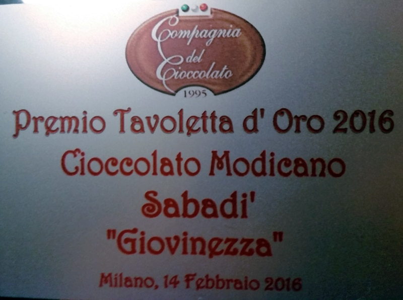 Sabadì è il miglior cioccolato di Modica. Per il quinto anno consecutivo! 2