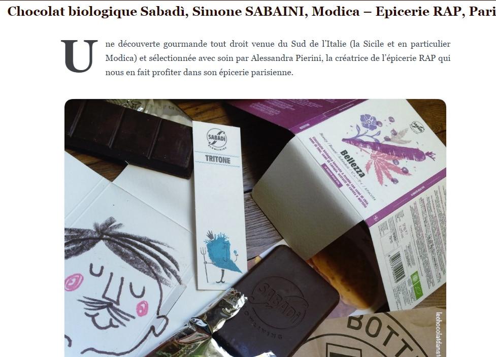 Chocolat biologique Sabadì, Simone SABAINI, Modica – Epicerie RAP, Paris