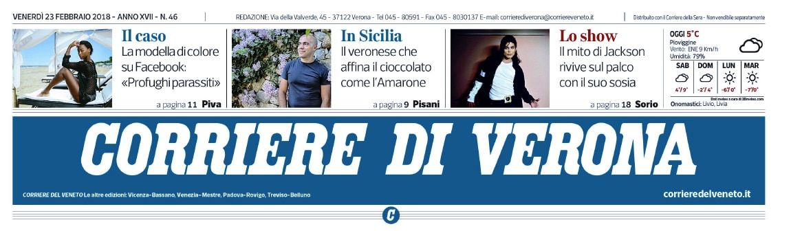 Corriere di Verona- Prima pagina con trafiletto Sabadì