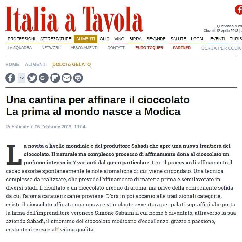 Italia a Tavola scrive di Sabadì
